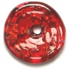 Glass Lamp Bead 26x26mm Ring Ruby/Silver Foil